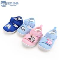 0-1-2岁宝宝学步鞋夏季宝宝凉鞋布鞋6-12月婴儿凉鞋软底鞋