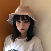 日系可爱双面格子渔夫帽女夏季遮阳布帽折叠帽ins休闲荷叶边盆帽