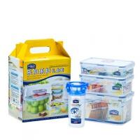 乐扣乐扣塑料保鲜盒套装 长方形收纳盒饭盒水杯4件套 HPL818S003