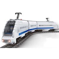 儿童兼容乐高积木电动轨道火车玩具城市系列和谐号天际拼装高铁男孩子