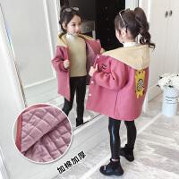 中大儿童长款呢子韩版洋气外套2019新款毛呢大衣女童秋冬装夹棉外套