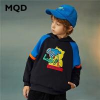 【2件3.5折券后价:148】MQD童装男童连帽卫衣2020冬装新款儿童保暖加绒卫衣大童加厚上衣