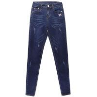 高腰牛仔裤女小脚铅笔春秋季加绒新款韩版刺绣弹力显瘦长裤子