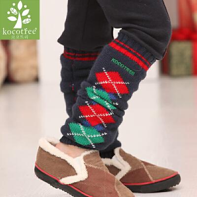 kk树儿童小孩脚套加厚保暖菱形彩格男女童脚套柔软亲肤材质  保暖