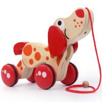 20181112205545524木质婴儿童拖拉玩具拉线狗拉绳鳄鱼 学步拖车0-1-2岁宝宝玩具