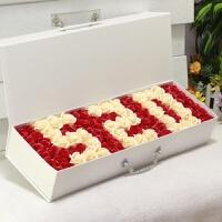 仿真假玫瑰肥皂香皂情人节花束礼盒生日礼物女生闺蜜diy韩国创意 米白色 60cm手提520