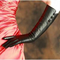 进口山羊皮手套 加长款可触显瘦皮手套40厘米 女冬真皮手套