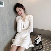 秋冬女装新款韩版chic纯色气质长袖流苏修身针织V领高腰连衣裙子