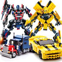 塑料积木拼插益智变形玩具金刚男孩智力拼装机器人