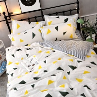 ins北欧简约波点格子床单四件套学生单人宿舍三件套被套床上用品 明黄色 美丽神话-图片色