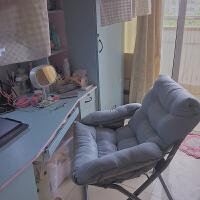 家用电脑椅懒人学生宿舍寝室椅折叠沙发简约现代卧室游戏靠背座椅 豪华椅 深蓝+搁脚凳+抱枕 钢制脚 固定扶手