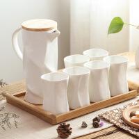 北欧简约陶瓷防冷水壶套装 水杯耐高温果汁壶 家用客厅欧式创意