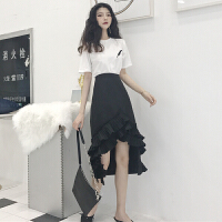 套装女春新款女装韩版羽毛刺绣短袖T恤+不规则压褶荷叶边半身裙潮