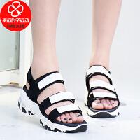 Skechers/斯凯奇女鞋新款低帮运动休闲沙滩鞋舒适轻便凉鞋66666108-BKW