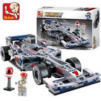 儿童积木拼装F1方程式汽赛车玩具小孩男孩3礼物6模型8岁legao 1:24银剑F1赛车-287片