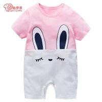 婴儿连体衣服短袖婴儿宝宝哈衣0岁3个月薄款夏装睡衣春婴儿连体衣