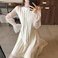 春季新款网红女神范套装韩版时尚针织马甲网纱波点仙女裙两件套潮