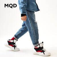 MQD童装男童休闲牛仔裤19夏装新款儿童破洞小脚牛仔裤男宝宝长裤