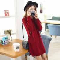 实拍2015秋冬新款新款大码长袖女针织衫套头韩版中长款女打底衫