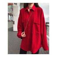 韩版秋季新款简约翻领中长款双口袋宽松百搭排扣大红色长袖衬衫女 红色 均码