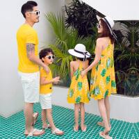 2019新款夏季沙滩装一家三口四口母女母子装家庭套装亲子装
