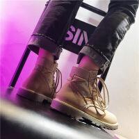 马丁靴女夏季英伦风新款高帮平底复古短靴机车工装沙漠女靴 卡其色