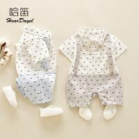 夏季婴幼儿薄款连体衣婴儿男童外出服洋气百天宝宝衣服