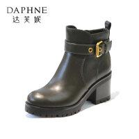 Daphne/达芙妮冬新款女靴 英伦风通勤马丁靴粗跟切尔西短靴子-
