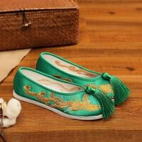 老北京新娘鞋手工绣花婚鞋红色秀禾鞋子千层底中式平底跟布鞋女 翠绿色 621龙凤呈祥-流苏