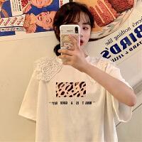 三木子快时尚女装~新款夏季蕾丝大V领T恤印花宽松短袖学生女