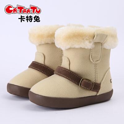 学步鞋 女童靴子秋冬季短靴1-3岁儿童雪地靴加厚加绒宝宝公主棉鞋卡特兔