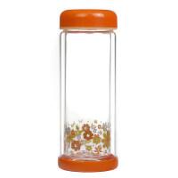 双层玻璃杯 清新花色 隔热防烫 带盖男女水杯280ML抖音