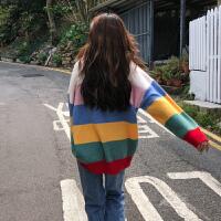 网红毛衣女2018新款韩版宽松慵懒风套头条纹针织衫彩虹的 F(均码)