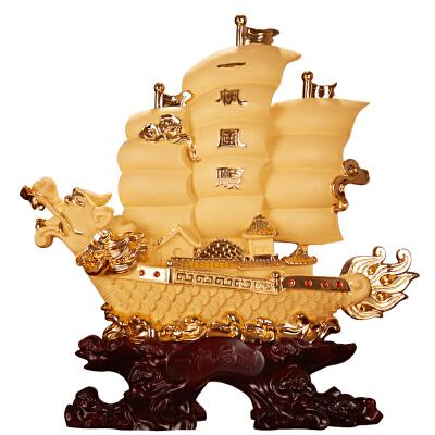 一帆风顺帆船摆件船工艺品家居客厅办公室酒柜装饰品乔迁新居礼品 特 支持退换代写祝福语破损包换礼盒包装