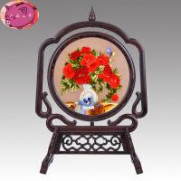 电视柜摆件 创意摆设 小件客厅装饰品 双面绣屏风台屏 手工刺绣苏绣