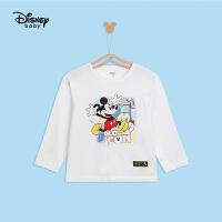 【3件4折券后预估价:43.2】迪士尼男童长袖T恤2021春装新款洋气童装宝宝卡通米奇打底衫