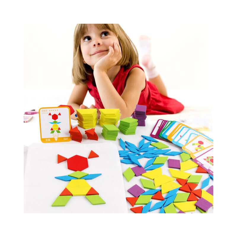 【2件5折】益智玩具 智力开发 朵莱 155片创意形状拼图 儿童早教益智力拼板 百变几何形状七巧板155片七巧板 早教益智玩具 优质玩具限时钜惠