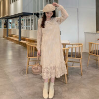 春季女装新款甜美娃娃领鱼尾裙长裙韩版chic风蕾丝加厚打底连衣裙