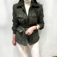 菱形格子黑色小棉衣2018新款韩版时尚女冬装短款棉袄外套
