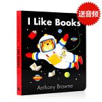 进口英文原版绘本 I Like Books 纸板书 Anthony browne 安东尼布朗作品 儿童图画书