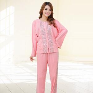 金丰田妈妈睡衣女秋中年款大码可外穿2017新款时尚套装韩版宽松长袖1845