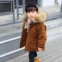 儿童棉衣加厚中长款新款冬装宝宝男童羽绒棉袄韩版外套潮 焦糖色 100码建议身高1米以内