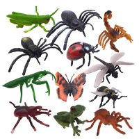 仿真动物模型 儿童早教玩具仿真昆虫玩具模型动物塑胶模型昆虫1-2-3-6周岁 昆虫套装(12只一袋)