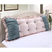 韩式沙发靠垫长靠枕床头大靠背含芯可拆洗床上靠背定制 公主泡泡 玉绿 1.5米 成品约 1.4米