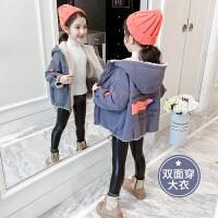 2019冬季新款女孩加厚棉衣儿童双面穿潮女童秋冬装加绒外套