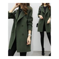 韩版双层呢子女士装风衣中长款双排扣大衣女大码宽松加厚毛呢外套