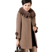 毛呢外套女中长款羊绒混纺妮子中年妈妈装潮秋冬季中老年羊毛混纺大衣 5X