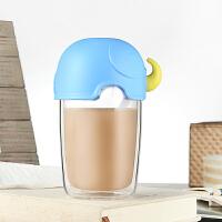 双层耐热玻璃杯泡花茶杯女士创意便携水杯果汁学生杯子带盖勺抖音