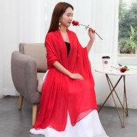 大红色丝巾女士披肩长款沙滩纱巾百搭雪纺棉麻两用围巾春秋冬季