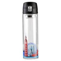 城市款双层耐热玻璃水杯便携随手车载杯子 350ml LLG663